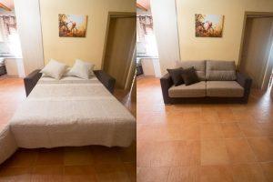 Sofá cama salón casa de l'Om de Mas de la Segarra
